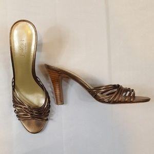 Ann Taylor LOFT Slide Sandal Heels BRONZE